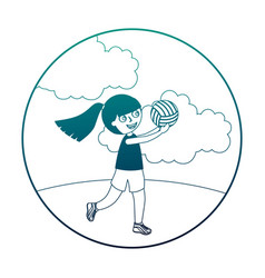 Little girl playing volleyball isolated icon vector