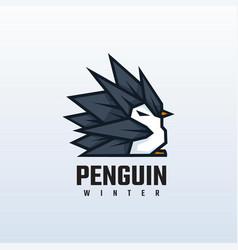 logo penguin mascot cartoon style vector image