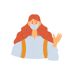 Masked girl greets holding her hand up vector