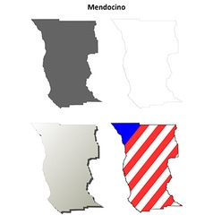 Mendocino County California outline map set vector