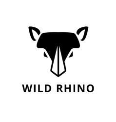 Minimalistic flat rhino head logo vector