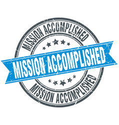 Mission accomplished round grunge ribbon stamp vector