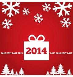 New Year greetings card with flat icons 2014 vector image