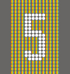 number five with white circles on rainbow circles vector image