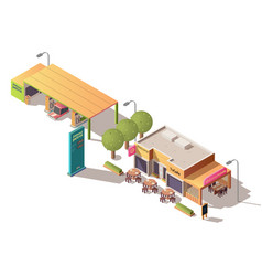 petrol station and road cafe isometric vector image