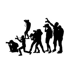 Photographer crowd and camera silhouette paparazzi vector