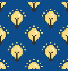 pixel electric lamps light bulbs seamless pattern vector image