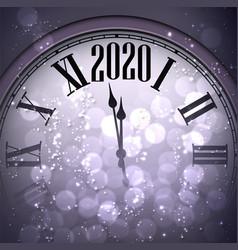 Purple shiny happy new year 2020 card with clock vector