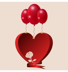 Red heart with a rose balls and lentoy vector