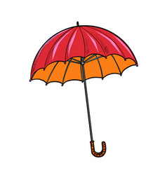 Red umbrella autumn accessory vector