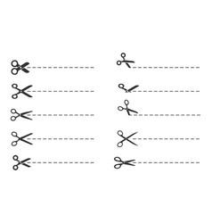 scissors cut lines paper cut symbol template vector image
