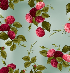 seamless floral pattern with red and pink roses vector image