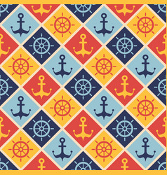 seamless nautical pattern with steering wheels and vector image