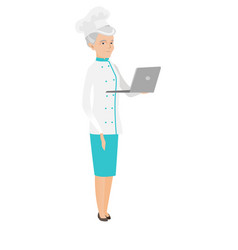 seinor caucasian chef cook using a laptop vector image