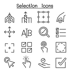 Selection icon set in thin line style vector