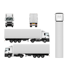 Semi truck template with cargo container truck vector