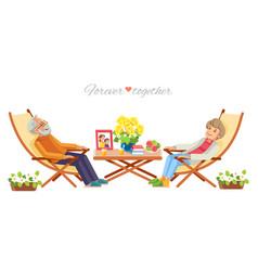 senior couple relaxing in garden isolate on white vector image