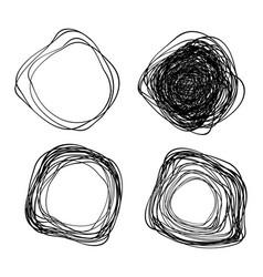 Set hand drawn distorted scribble circles vector