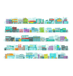 set of architecture town buildings city long vector image