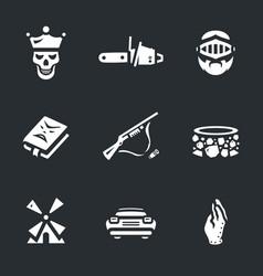 set of necromancy icons vector image