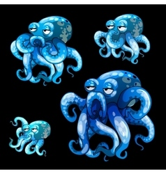 Set of old blue octopuses on a black background vector