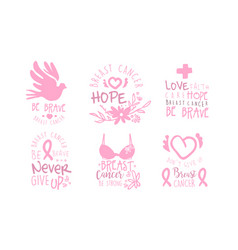 Set pink logos to fight breast cancer vector