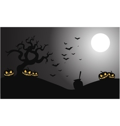 Silhouette of pumpkins and bat halloween vector
