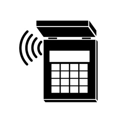 Silhouette security system alarm icon vector