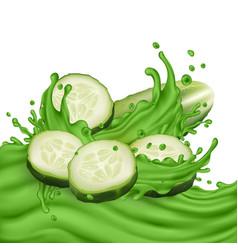 Sliced cucumber and green juice splashing wave vector