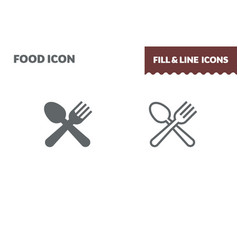 spoon and fork icon fill and line flat vector image