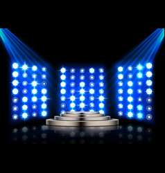Stage podium with spotlights on dark background vector
