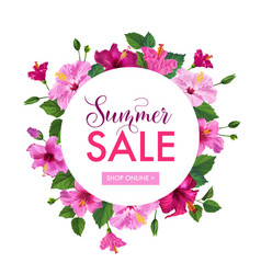 Summer sale floral banner seasonal discount vector
