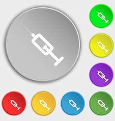 syringe icon sign Symbol on five flat buttons vector image