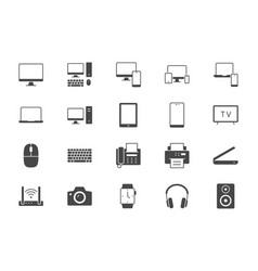 technology glyph flat icons vector image