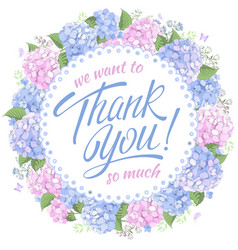 thank you message with hydrangea vector image