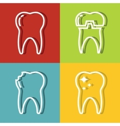 Tooth white line icons on color background vector image