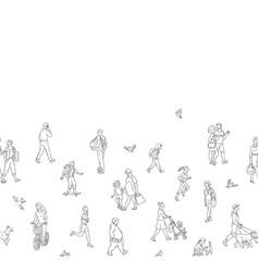 Urban people crowd seamless pattern vector