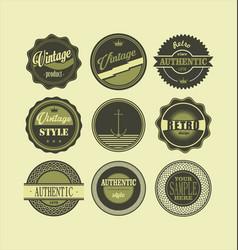 vintage labels black and green set 1 vector image
