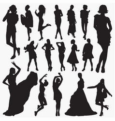 Wearing stylish clothes silhouettes vector