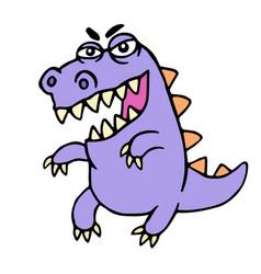 Wild purple cartoon dragon vector