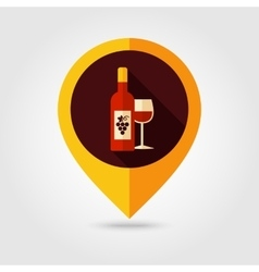 Wine flat mapping pin icon vector