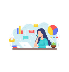 young woman working with laptop vector image
