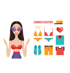 beautiful young woman in summer clothes sunglasess vector image