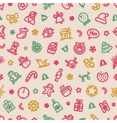 Christmas Symbols Seamless Pattern Colorful vector image