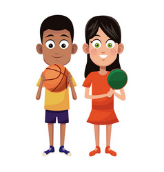 couple children sport basketball and ping pong vector image vector image