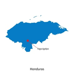 Detailed map of Honduras and capital city vector image vector image