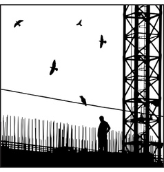 Industrial cityscape with birds vector image