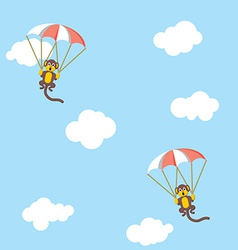 Monkeys with parachutes vector image vector image