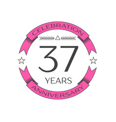 Thirty seven years anniversary celebration logo vector