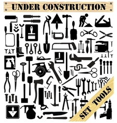 A set of tools silhouettes vector image vector image